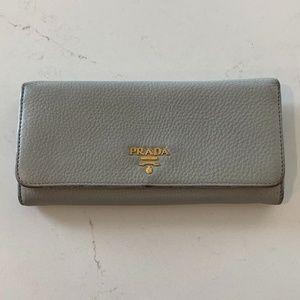 Prada Grey Pebbled Leather 'Continental' Wallet